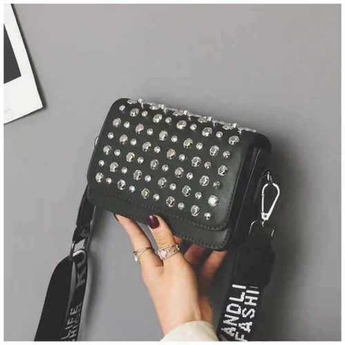 JT00848-black Tas Selempang Fashion Kekinian Import