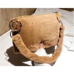 JT0123-khaki Tas Selempang Plushy Wanita Cantik Import