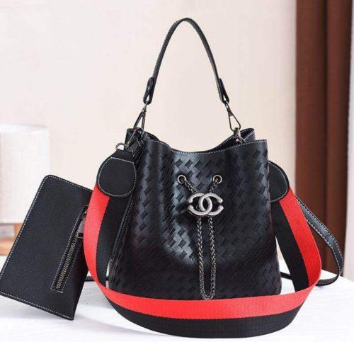 JT01692-black Tas Handbag Cantik 2 Talpan 2in1 Import
