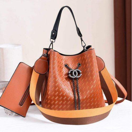 JT01692-brown Tas Handbag Cantik 2 Talpan 2in1 Import