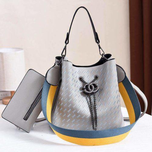 JT01692-gray Tas Handbag Cantik 2 Talpan 2in1 Import