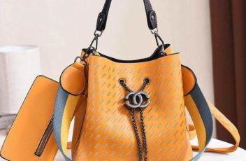 JT01692-yellow Tas Handbag Cantik 2 Talpan 2in1 Import