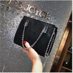JT01747-black Tas Selempang Fashion Tali Rantai Cantik