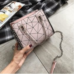 JT01747-pink Tas Selempang Fashion Tali Rantai Cantik