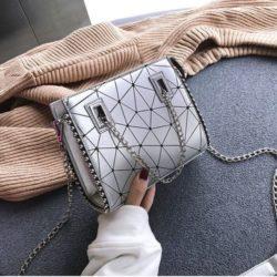 JT01747-silver Tas Selempang Fashion Tali Rantai Cantik