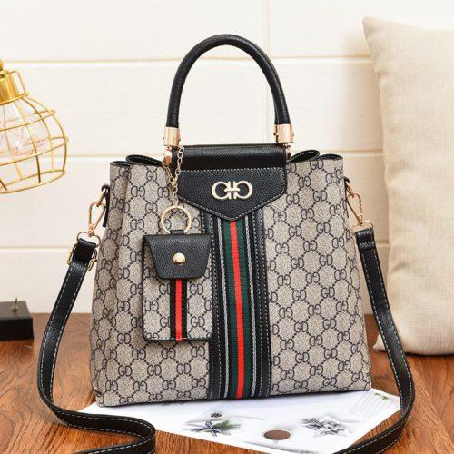 JT01868-black Handbag Wanita Elegan Dengan Tali Selempang 2in1