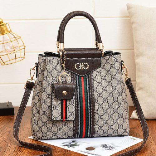 JT01868-coffee Handbag Wanita Elegan Dengan Tali Selempang 2in1