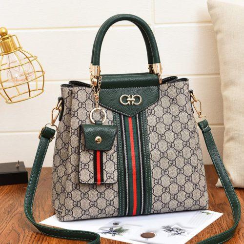 JT01868-green Handbag Wanita Elegan Dengan Tali Selempang 2in1