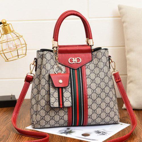 JT01868-red Handbag Wanita Elegan Dengan Tali Selempang 2in1