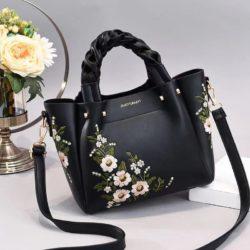JT01875-black Tas Selempang Motif Bunga Wanita Cantik