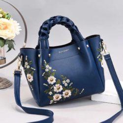JT01875-blue Tas Selempang Motif Bunga Wanita Cantik