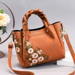 JT01875-brown Tas Selempang Motif Bunga Wanita Cantik