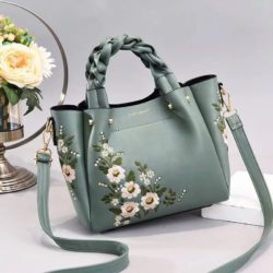 JT01875-green Tas Selempang Motif Bunga Wanita Cantik