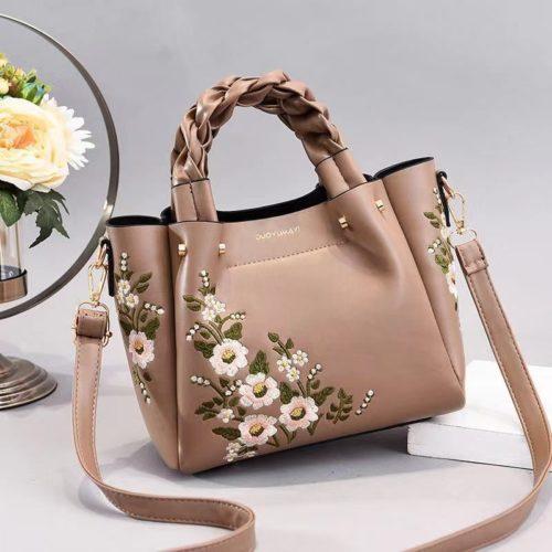 JT01875-khaki Tas Selempang Motif Bunga Wanita Cantik
