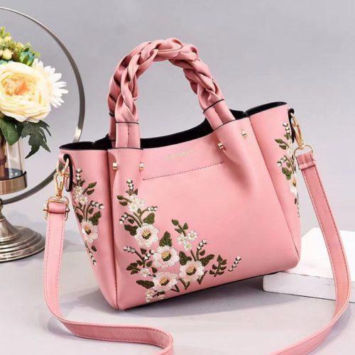 JT01875-pink Tas Selempang Motif Bunga Wanita Cantik