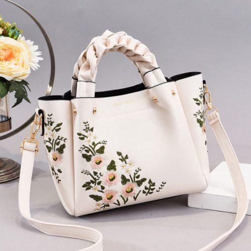 JT01875-white Tas Selempang Motif Bunga Wanita Cantik