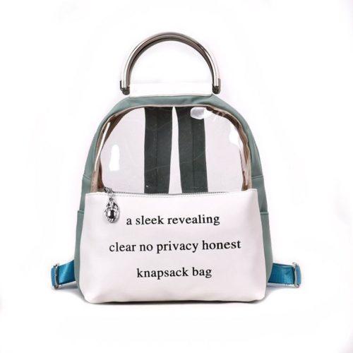 JT0222-green Tas Ransel Transparan Knapsack Bag Kekinian Import
