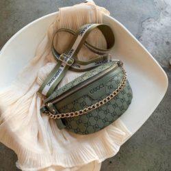 JT02334-green Sling Bag Import Wanita Elegan Cantik