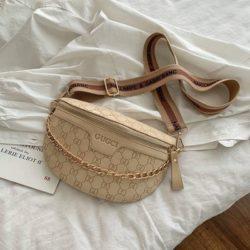 JT02334-khaki Sling Bag Import Wanita Elegan Cantik