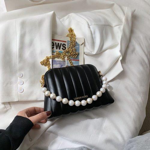 JT03345-black Tas Selempang Mutiara Wanita Cantik Import