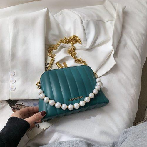 JT03345-green Tas Selempang Mutiara Wanita Cantik Import