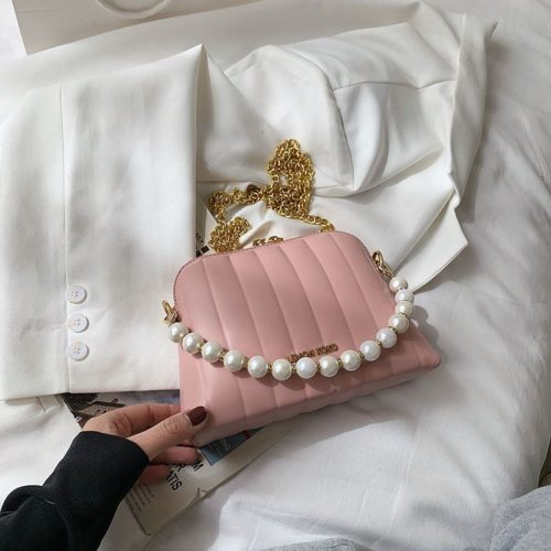 JT03345-pink Tas Selempang Mutiara Wanita Cantik Import