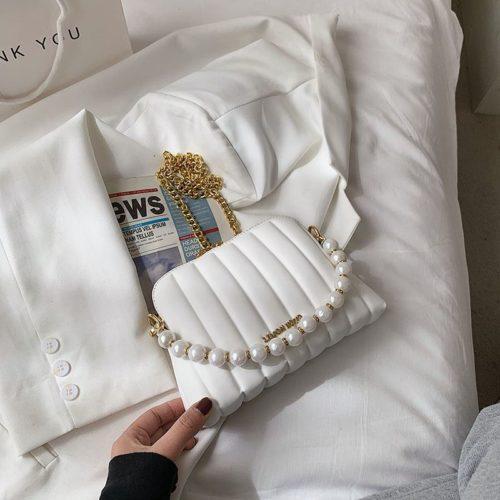 JT03345-white Tas Selempang Mutiara Wanita Cantik Import