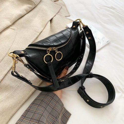 JT03410-black Tas Waist Bag Selempang Wanita Cantik Import