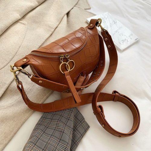 JT03410-brown Tas Waist Bag Selempang Wanita Cantik Import