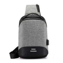 JT050-gray Sling Bag Anti Maling Pria Keren + Colokan USB