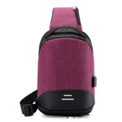 JT050-purple Sling Bag Anti Maling Pria Keren + Colokan USB