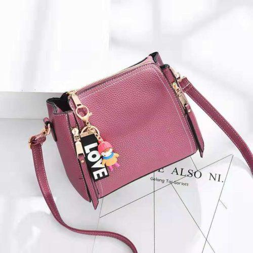 JT062B-darkpink Tas Selempang Gantugan LOVE Fashion Import