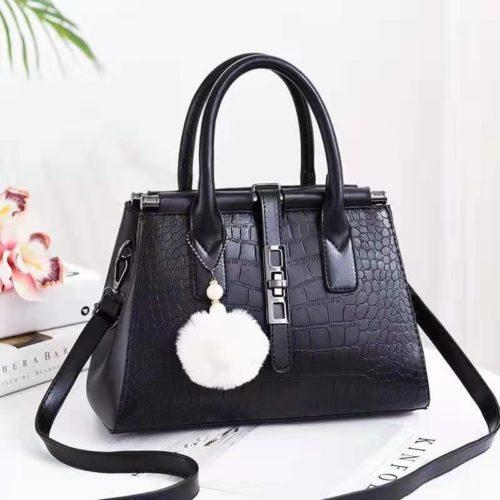 JT0690-black Tas Handbag Pom Pom Elegan Import Terbaru