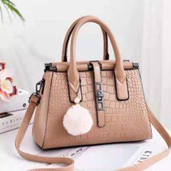 JT0690-khaki Tas Handbag Pom Pom Elegan Import Terbaru