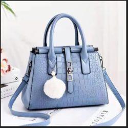 JT0690-lightblue Tas Handbag Pom Pom Elegan Import Terbaru