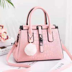 JT0690-pink Tas Handbag Pom Pom Elegan Import Terbaru