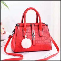 JT0690-red Tas Handbag Pom Pom Elegan Import Terbaru