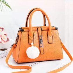 JT0690-yellow Tas Handbag Pom Pom Elegan Import Terbaru