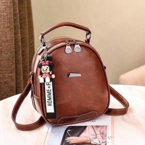 JT07002-brown Tas Mini Ransel Gantungan Minnie lucu Terbaru