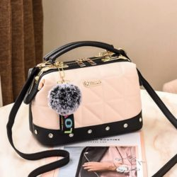 JT07813-beige Doctor Bag Pom Pom Fashion Wanita Cantik