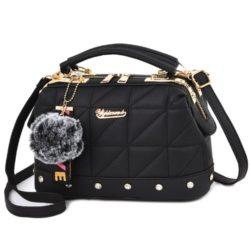 JT07813-black Doctor Bag Pom Pom Fashion Wanita Cantik