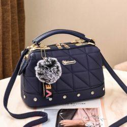 JT07813-blue Doctor Bag Pom Pom Fashion Wanita Cantik