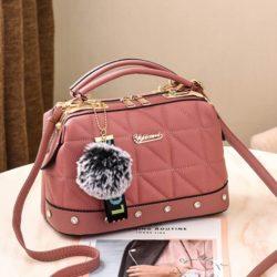 JT07813-darkpink Doctor Bag Pom Pom Fashion Wanita Cantik