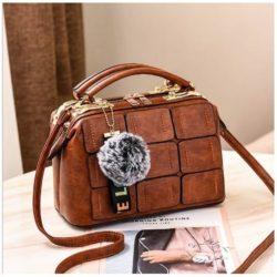 JT07815-brown Tas Doctor Bag Wanita Pom Pom Import Elegan