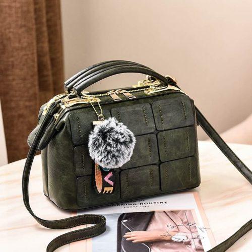 JT07815-green Tas Doctor Bag Wanita Pom Pom Import Elegan