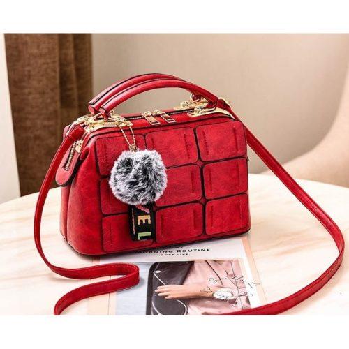 JT07815-red Tas Doctor Bag Wanita Pom Pom Import Elegan