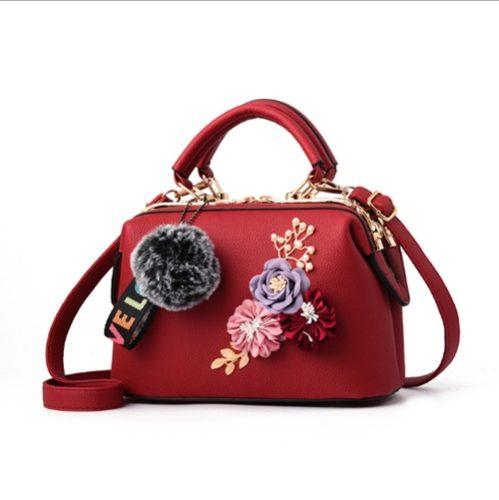 JT0788-red Doctor Bag Pom Pom Bunga Elegan