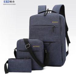 JT083-blue Tas Ransel Laptop Anti Maling Set 3in1 Import