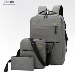 JT083-gray Tas Ransel Laptop Anti Maling Set 3in1 Import