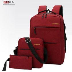 JT083-red Tas Ransel Laptop Anti Maling Set 3in1 Import